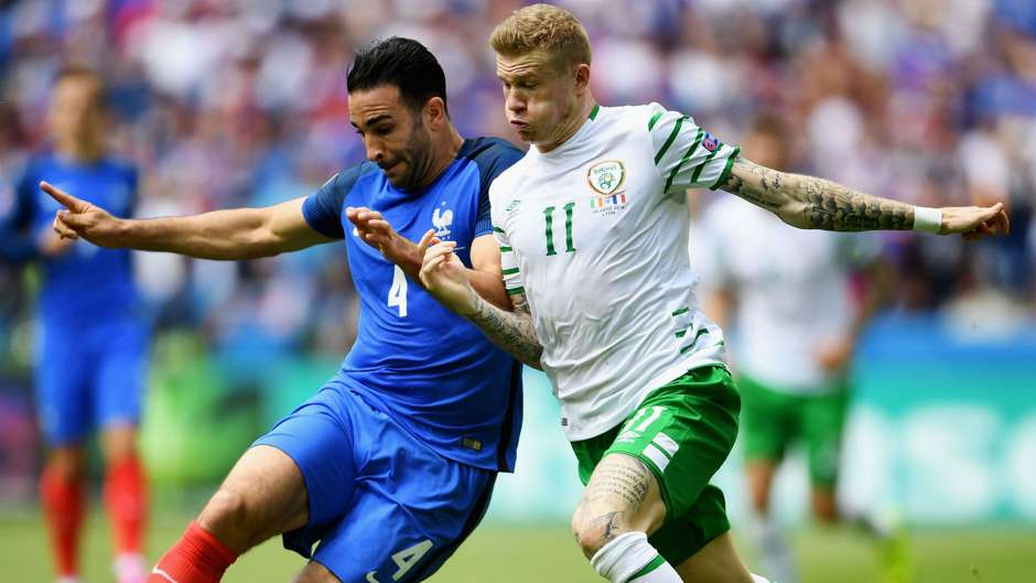 Adil Rami James McClean France Ireland UEFA Euro 2016 26062016