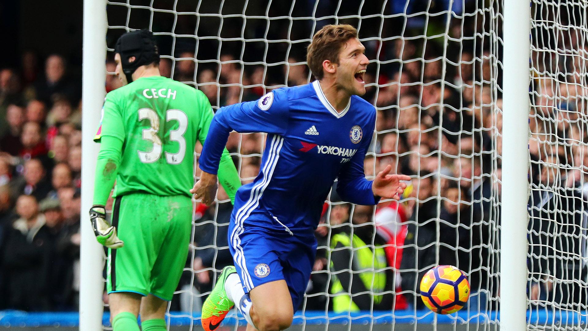 Marcos Alonso Chelsea Petr Cech Arsenal Premier League 04022017