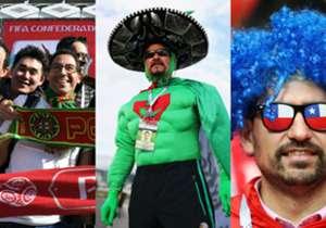 Para la Copa Confederaciones 2017 no hay etiquetas de vestimentas. Los hinchas utilizan vestimentas típicas de sus países para brillar en la tribuna.