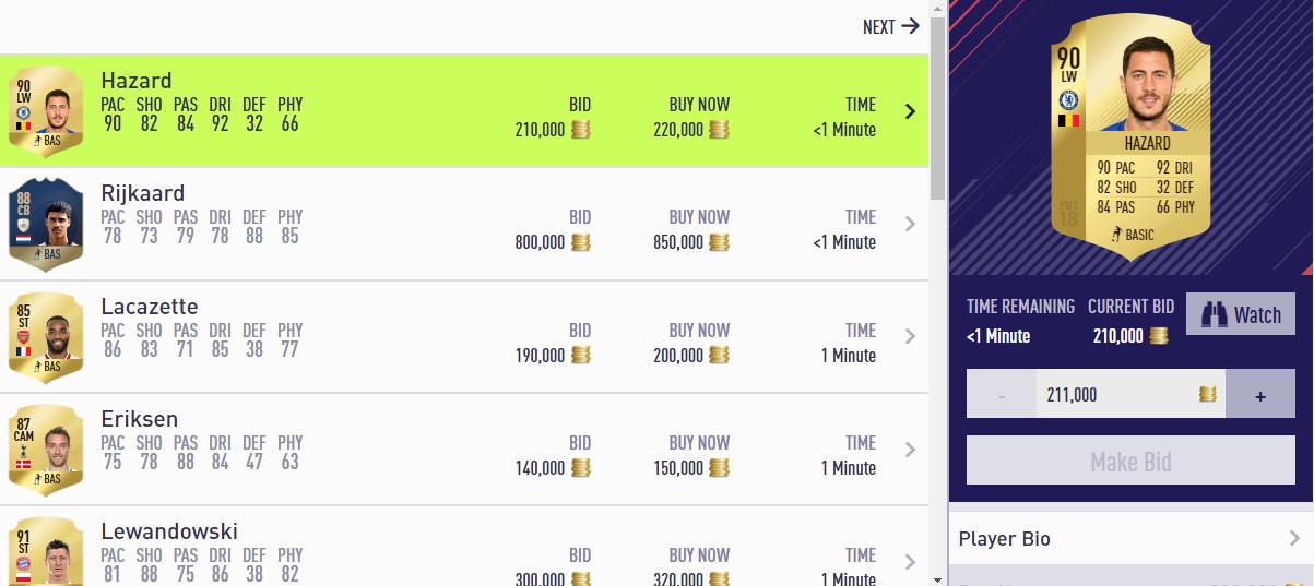 FIFA Ultimate Team 18 Transfer Market