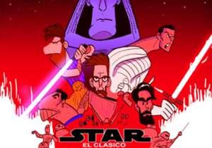 Laga bertajuk El Clasico memang baru digelar akhir pekan depan, namun bertepatan dengan penayangan film terbaru Star Wars, kartunis Goal Internasional Omar Momani menggambar rivalitas Real Madrid dan Barcelona dengan inspirasi poster Star Wars terbaru!