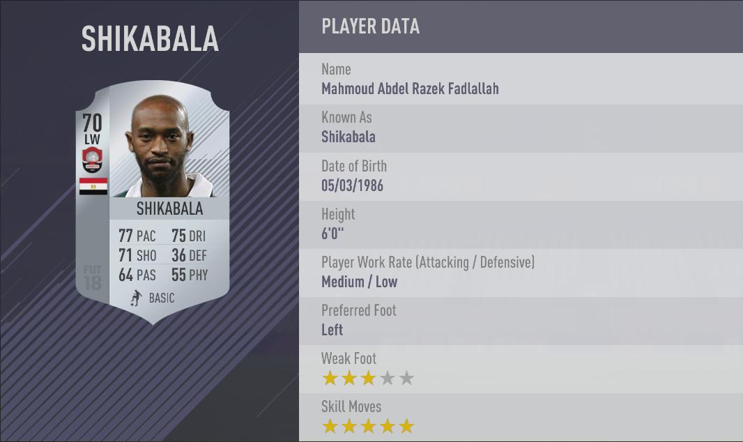 Shikabala FIFA 18 Skill Players