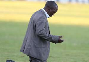 Sofapaka coach Sam Ssimbwa goes down to his knees after Batoto ba Mungu beat AFC Leopards in Machakos.