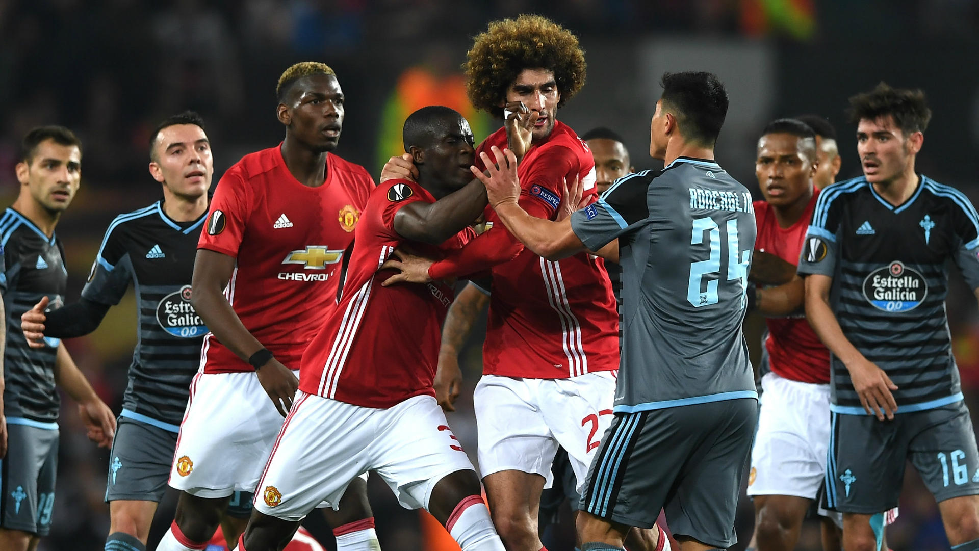 Eric Bailly Marouane Fellaini Manchester United Celta Vigo