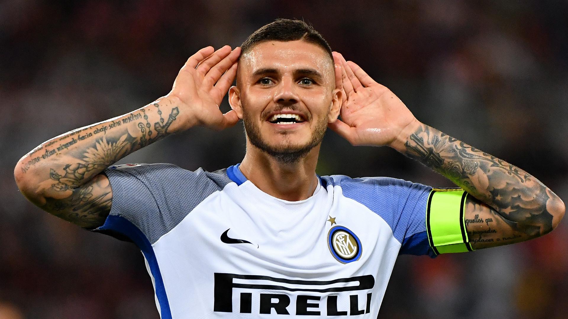 Mauro Icardi celebrates Roma Inter Serie A