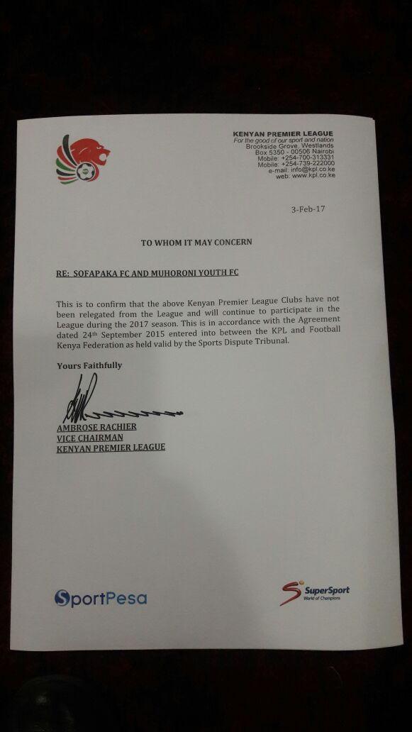 KPL letter on Muhoroni Youth and Sofapaka