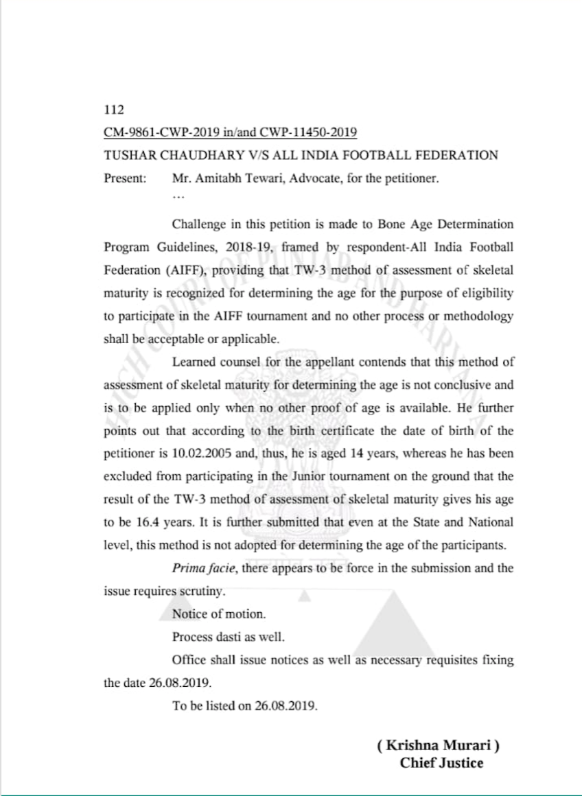 Indian football: Punjab and Haryana High Court issues notice to AIFF over TW3 test