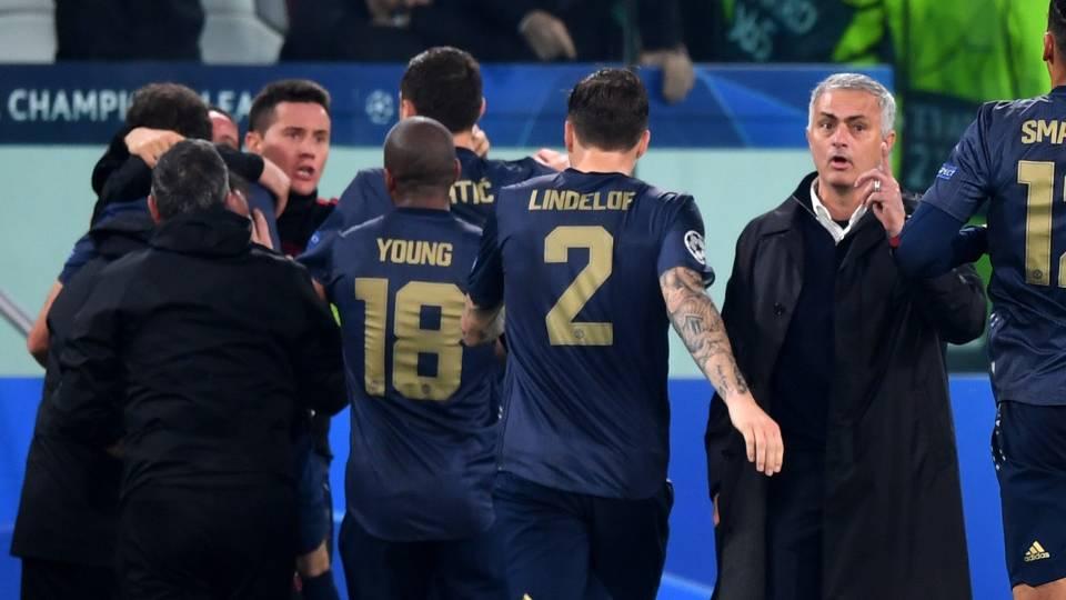 Man Utd celebrate vs Juventus