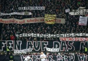 Das erste reguläre Montagsspiel in der Bundesliga lässt die Fanseele kochen. Hier sind die Bilder des Protests von der Partie Frankfurt gegen Leipzig. (Galerie wird aktualisiert)