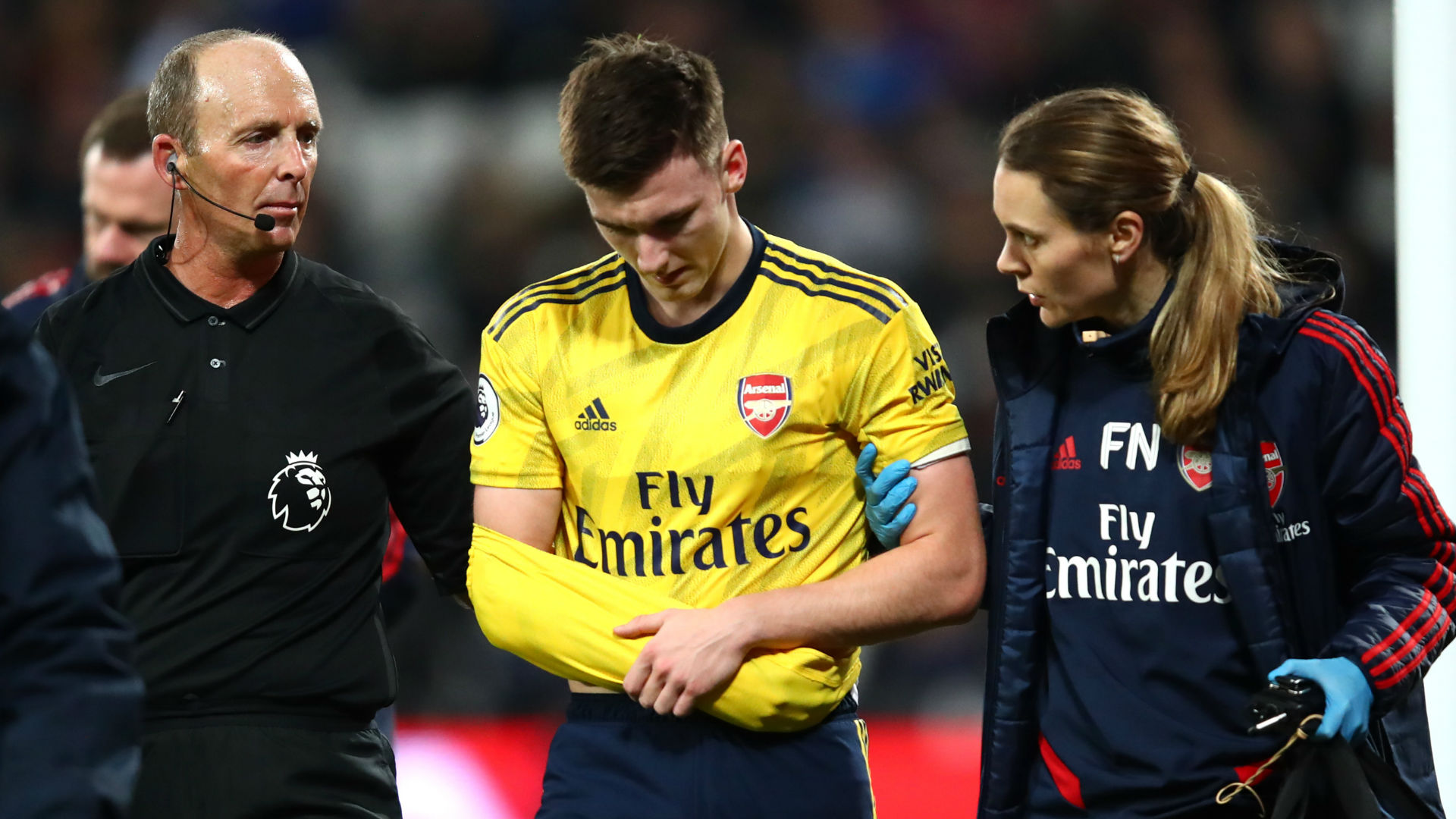 Injury blow for Arsenal as Tierney forced off against West Ham