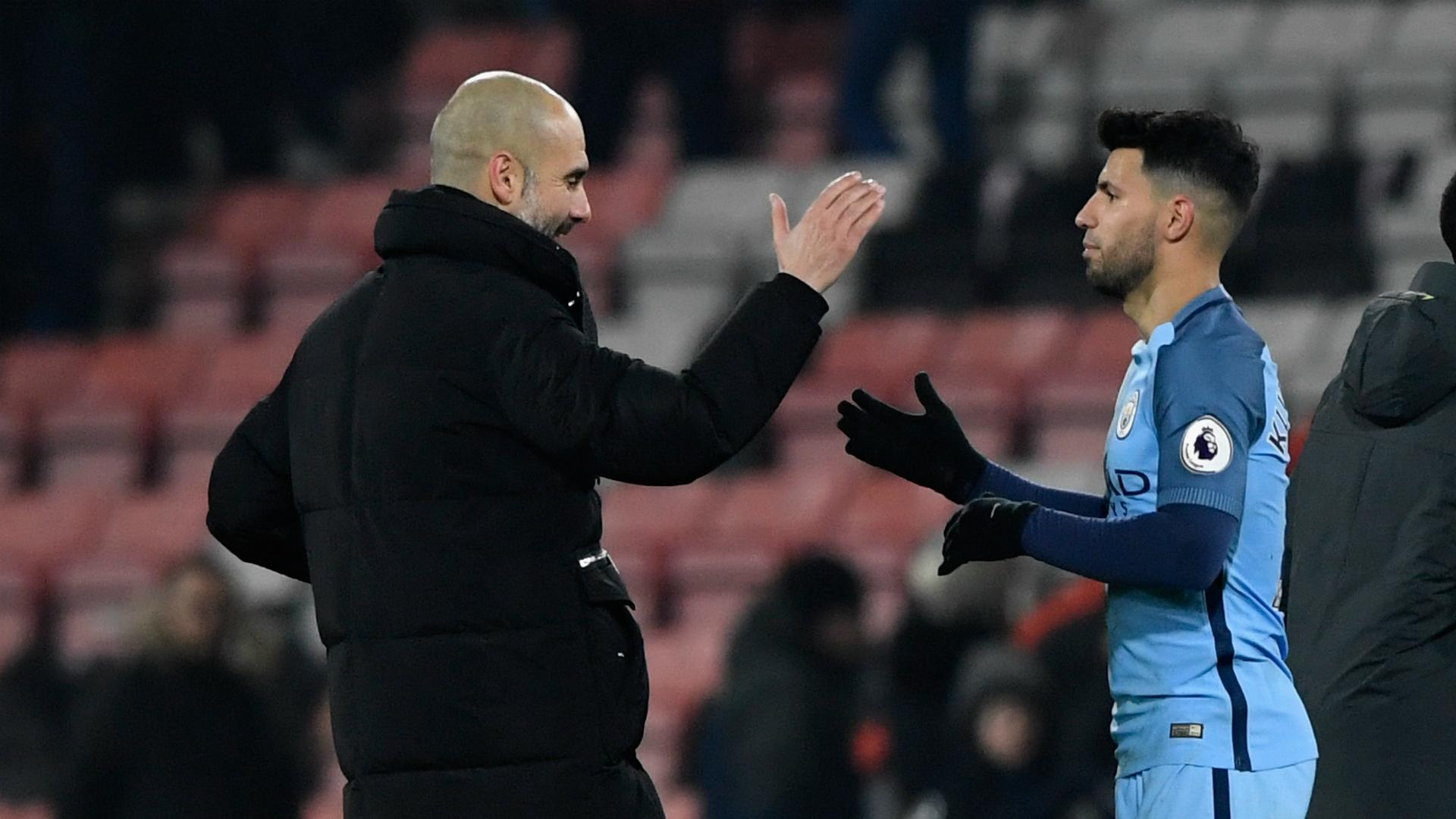 Pep Guardiola Sergio Aguero Manchester City
