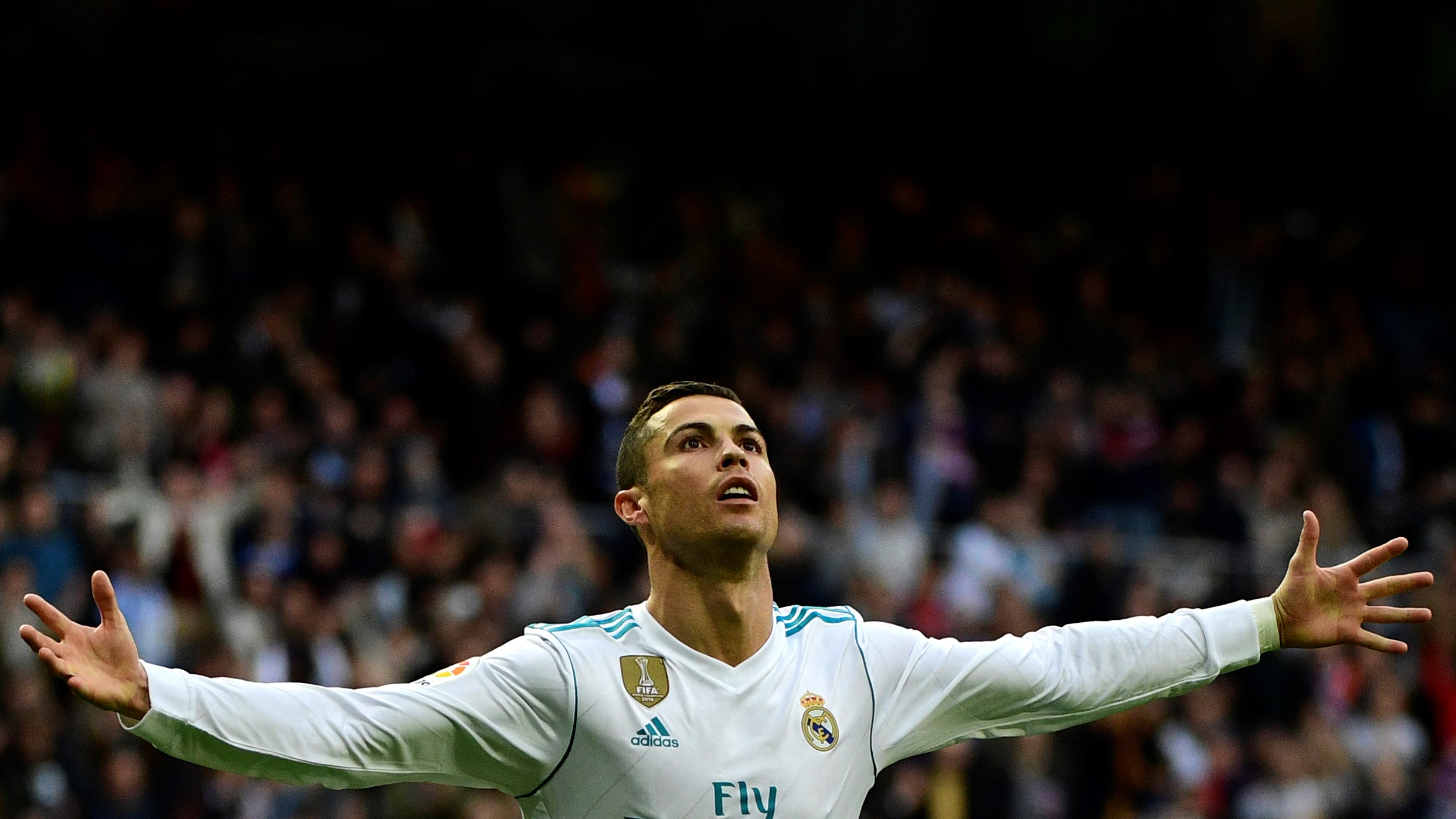 Image result for Ronaldo celebrates Ballon d'Or with double as Real thrash Sevilla