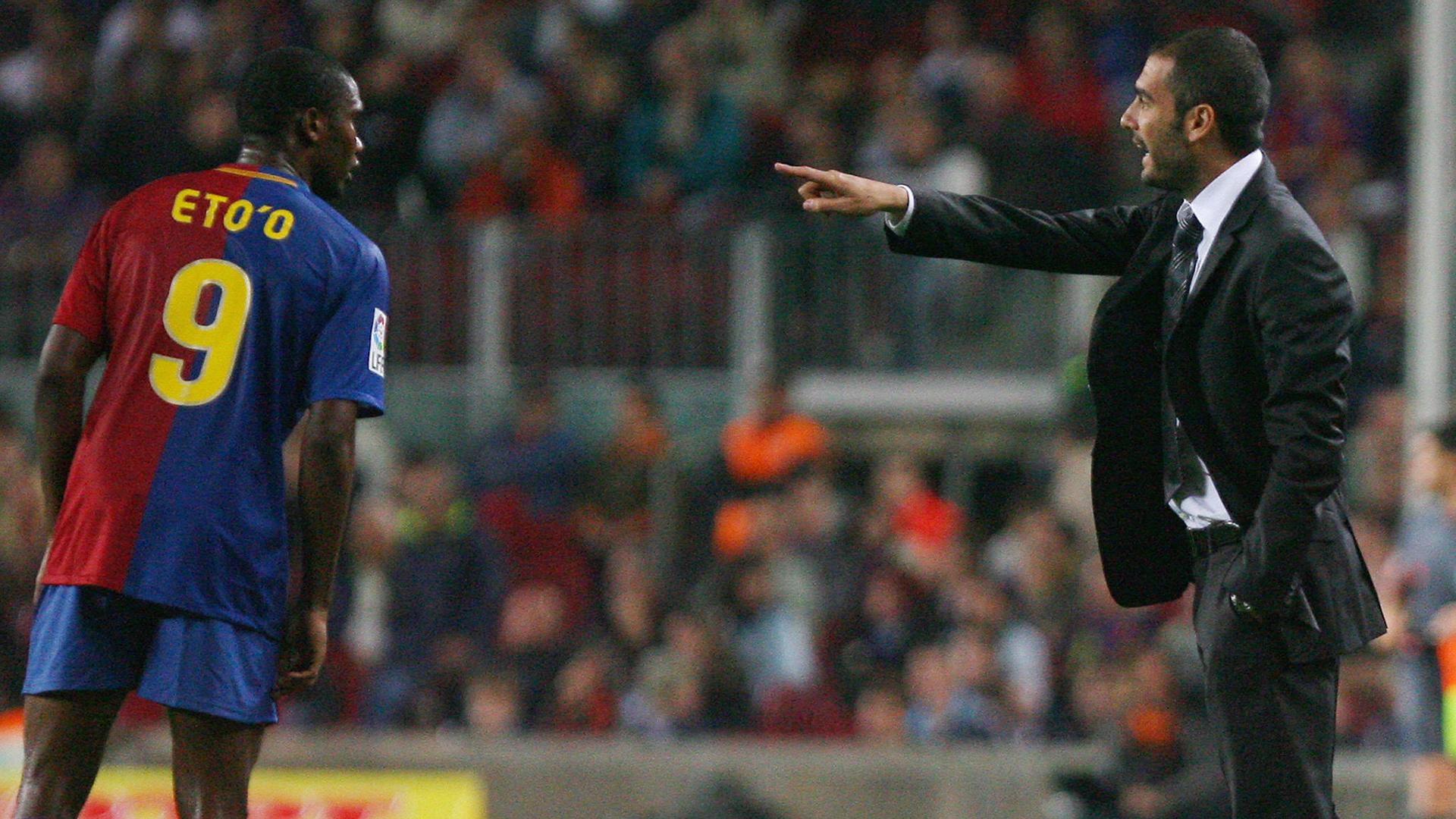 Pep Guardiola Samuel Eto'o Barcelona