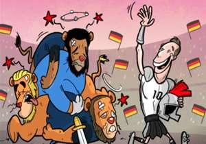 23 DE MARÇO | O atacante Lukas Podolski abandonou a seleção da Alemanha com estilo, já que seu golaço garantiu a vitória da seleção em clássico sobre a Inglaterra, por 1 a 0, disputado em Dortmund.