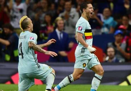 Hazard helpt België aan kwartfinales