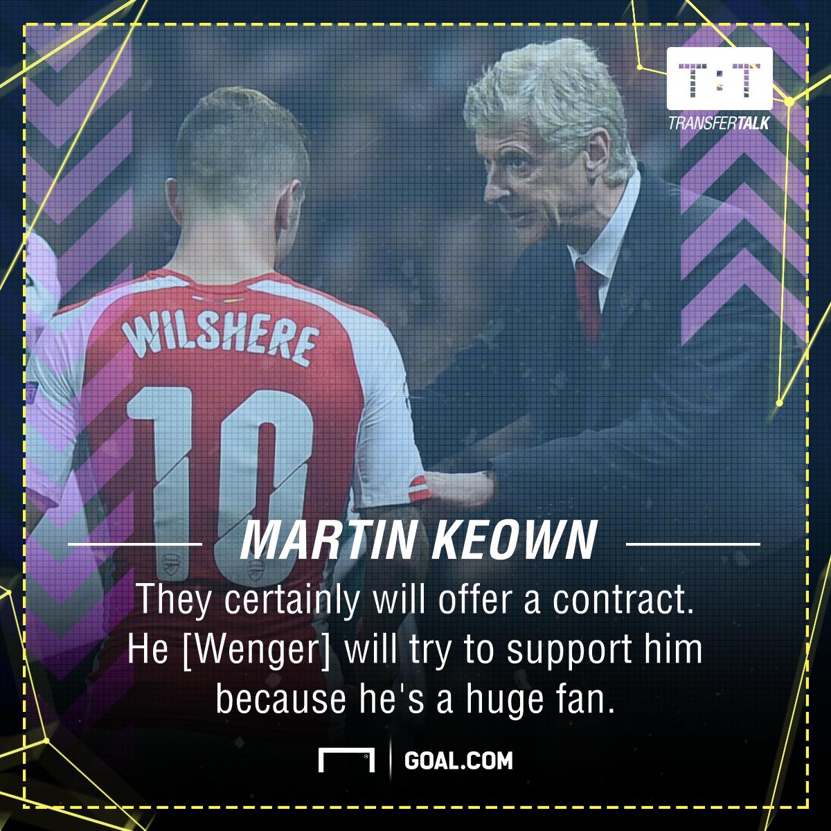 Jack Wilshere Martin Keown Arsenal contract