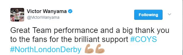 Victor Wanyama tweet after Arsenal win