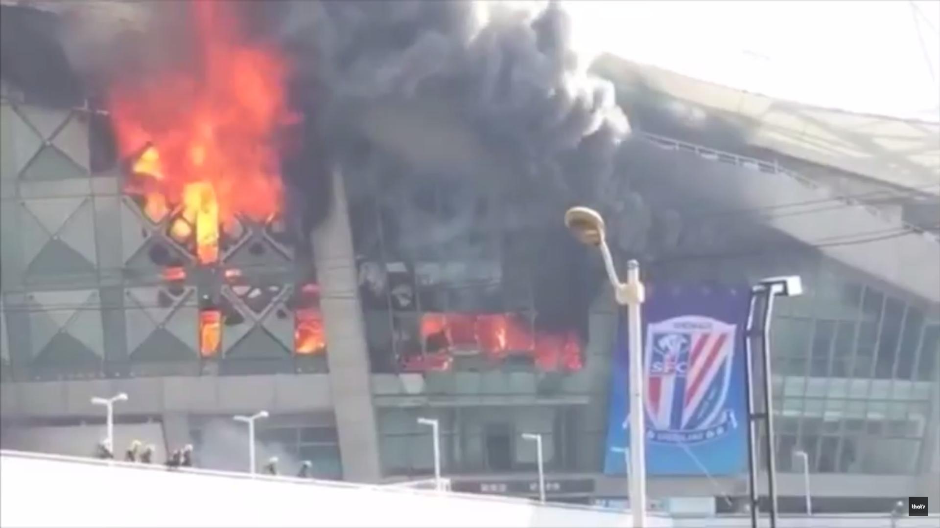 Feuer im Stadion von Shanghai Shenhua