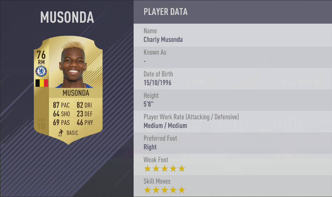 Charly Musonda FIFA 18 Skill Players