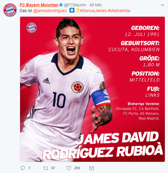25 Baby Names That Spell Career Success: Bayern Munich Spell James Rodriguez's Name Wrong Amid