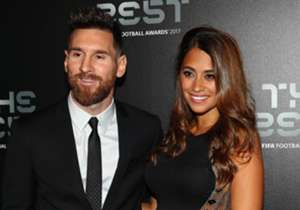 Barcelona forward Lionel Messi and wife Antonella were among the stars out in force on FIFA's green carpet at Monday night's The Best award ceremony in London...