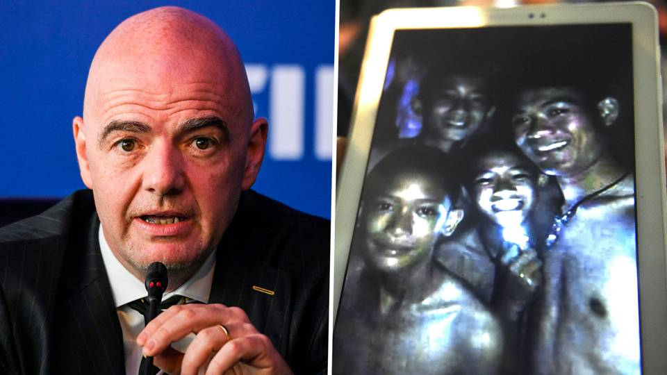 Image result for FIFA PRESIDENT, Infantino children have been stuck in the cave Thailand