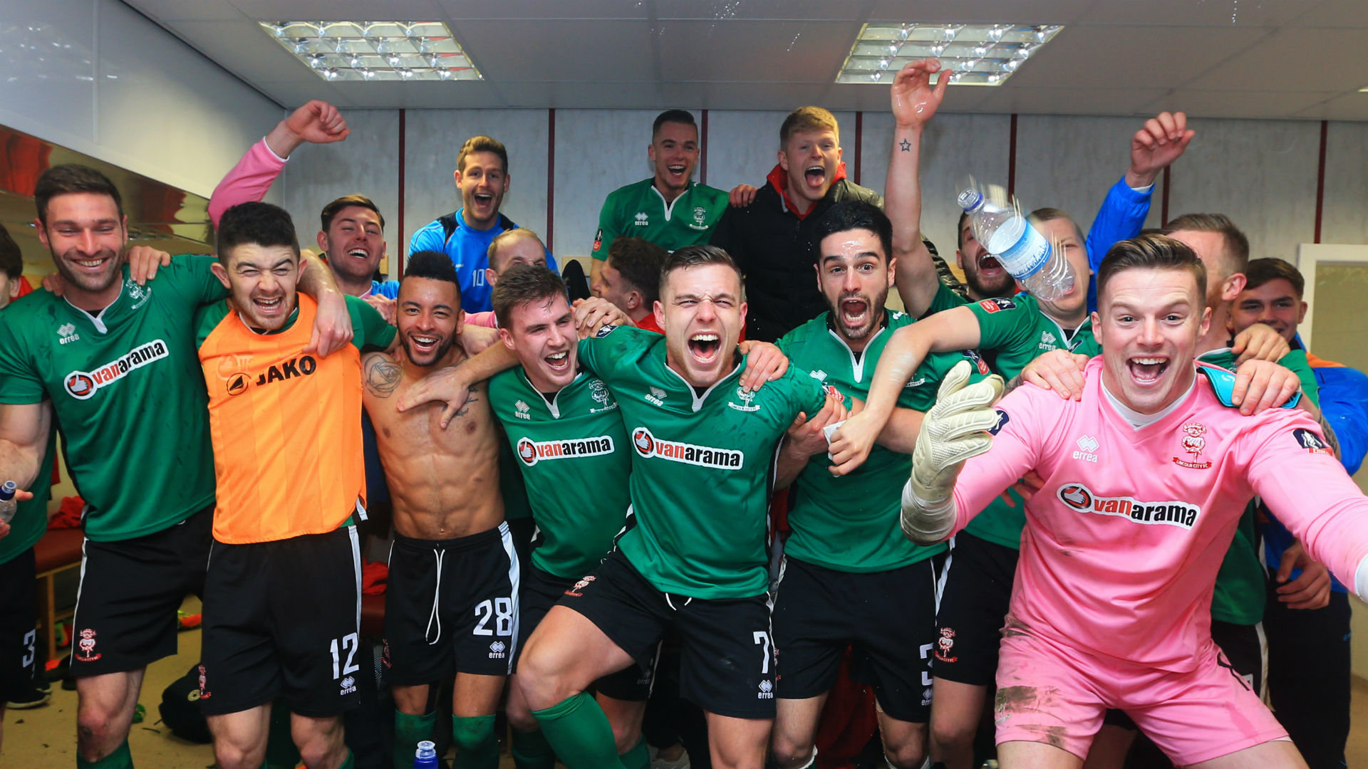 Lincoln celebrate beating Burnley