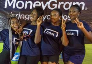 The Goal.com Ghana girls before the first Afcon big screen experience at the Silverbird Cinemas in Accra