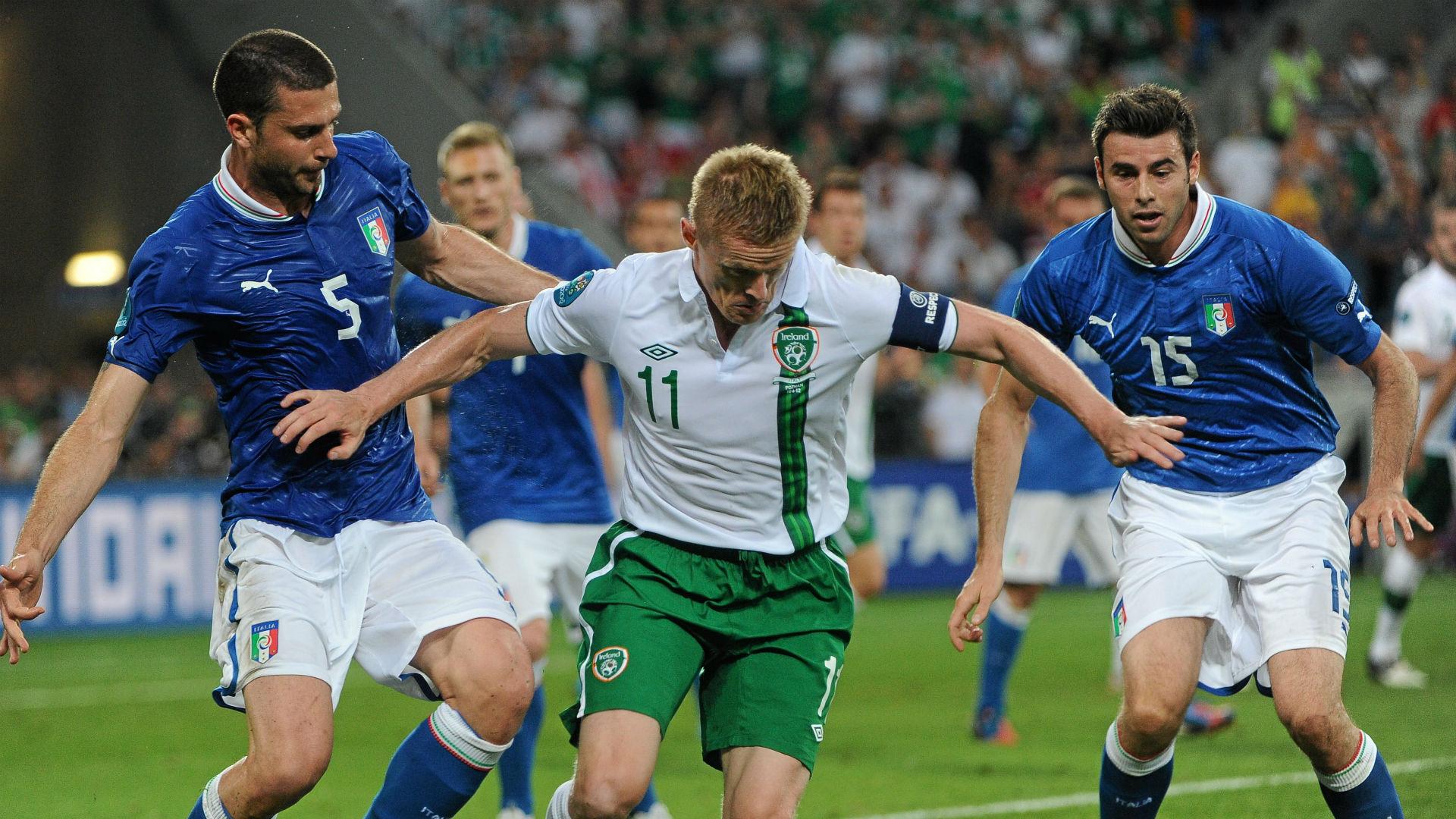 Thiago Motta Italy Damien Duff Ireland Andrea Barzagli Italy Euro 2012