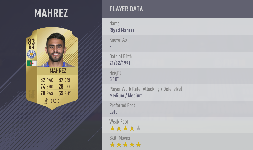 Riyad Mahrez FIFA 18 Skill Players