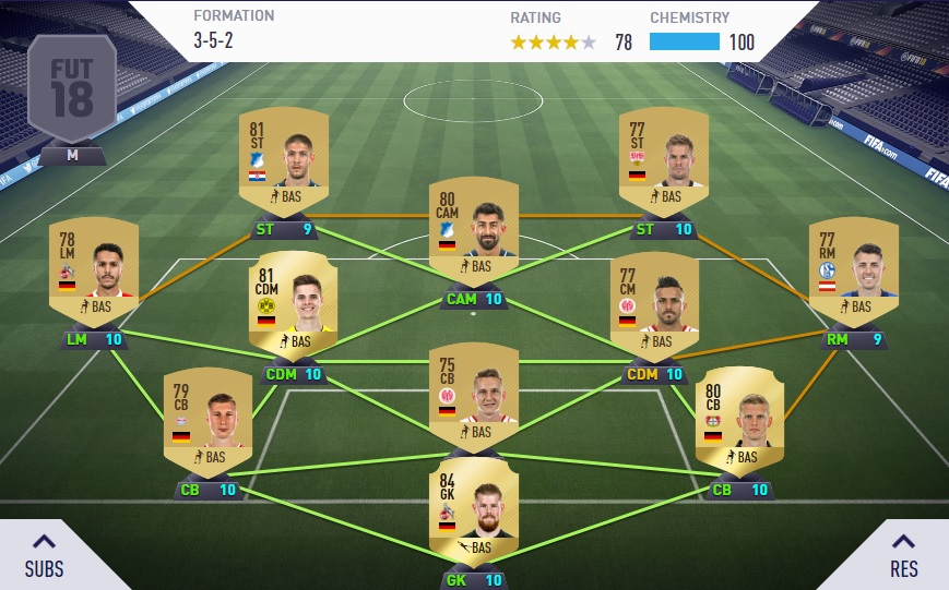 FIFA 18 Ultimate Team Chemistry