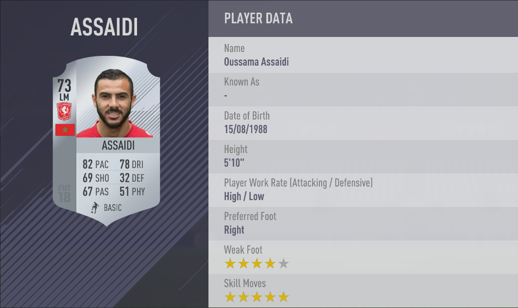 Oussama Assaidi FIFA 18 Skill Players