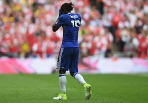 The Nigerian became the fifth player to be dismissed in the FA Cup final's history after being punished for simulating