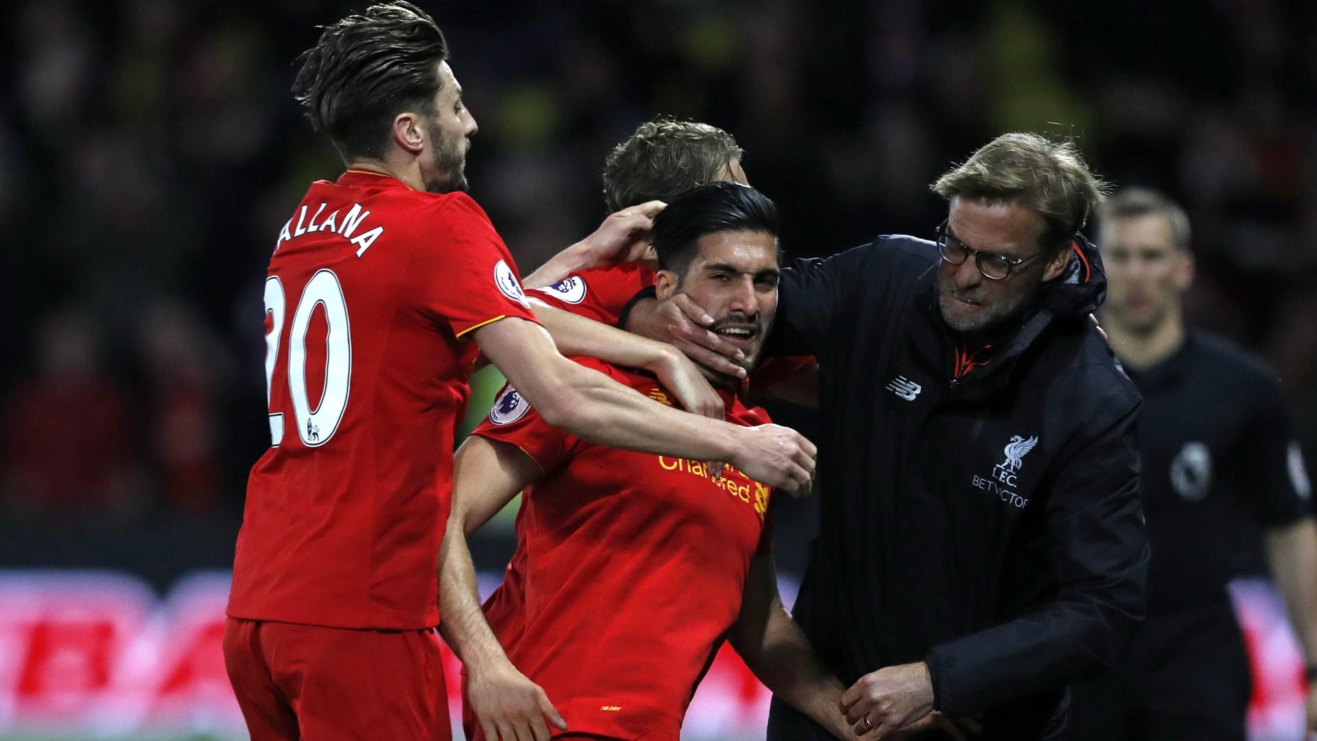 HD Emre Can Liverpool celebrate Klopp Lallana