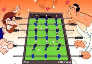Le tirage au sort des huitièmes de finale de la Ligue des Champions : Ronaldo à fond pour Chelsea et Messi supporter du PSG dans une partie endiablée de baby-foot !