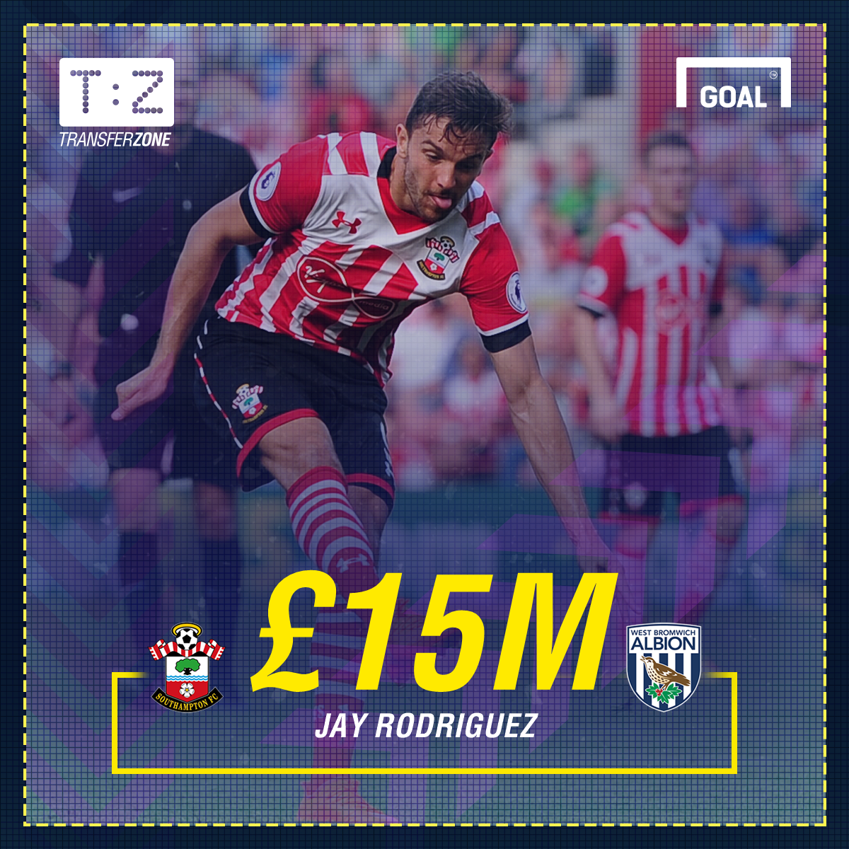 West Brom set to sign Jay Rodriguez in £15m deal from Southampton