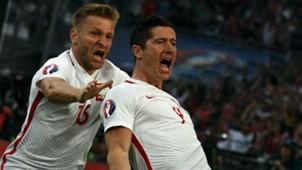 Lewandowski celebrates Poland Portugal Euro 2016