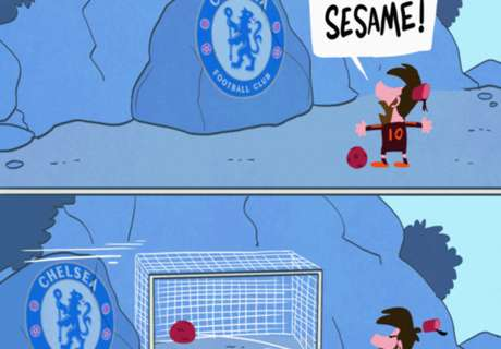 CARTOON: Messi finally scores against Chelsea