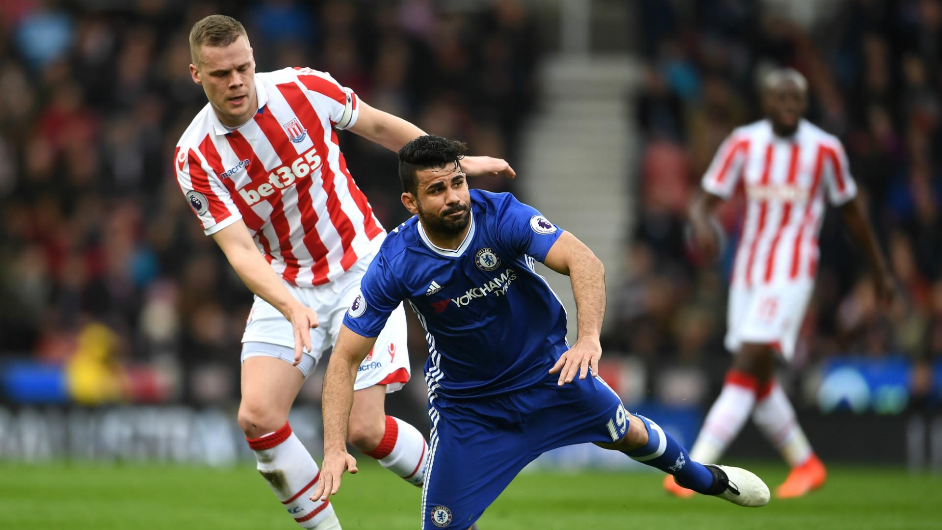 Diego Costa Ryan Shawcross Stoke City Chelsea Premier League