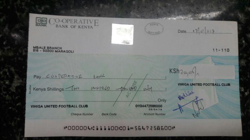 Vihiga United cheque over Bernard Ochieng