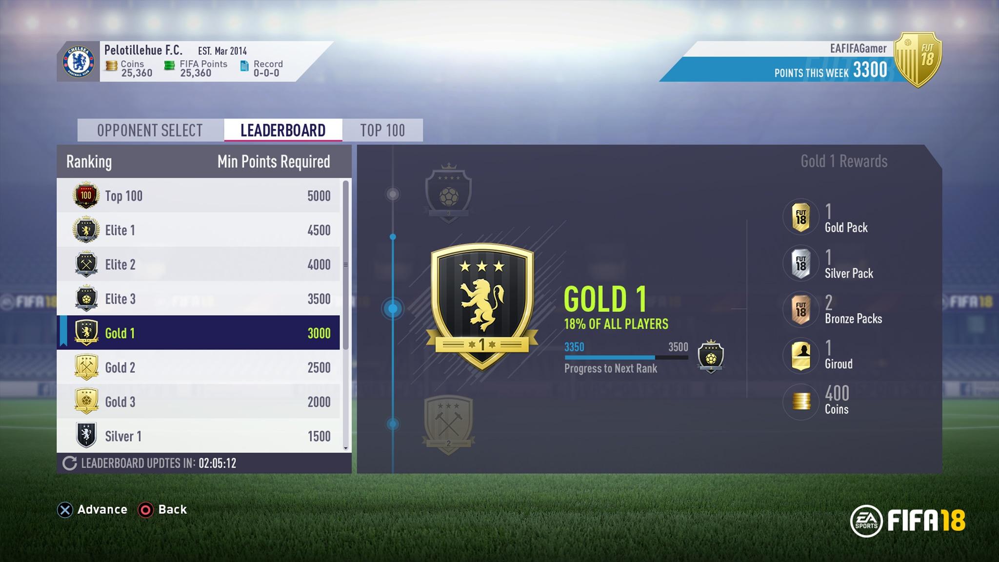 FIFA 18 Ultimate Team Squad Battles
