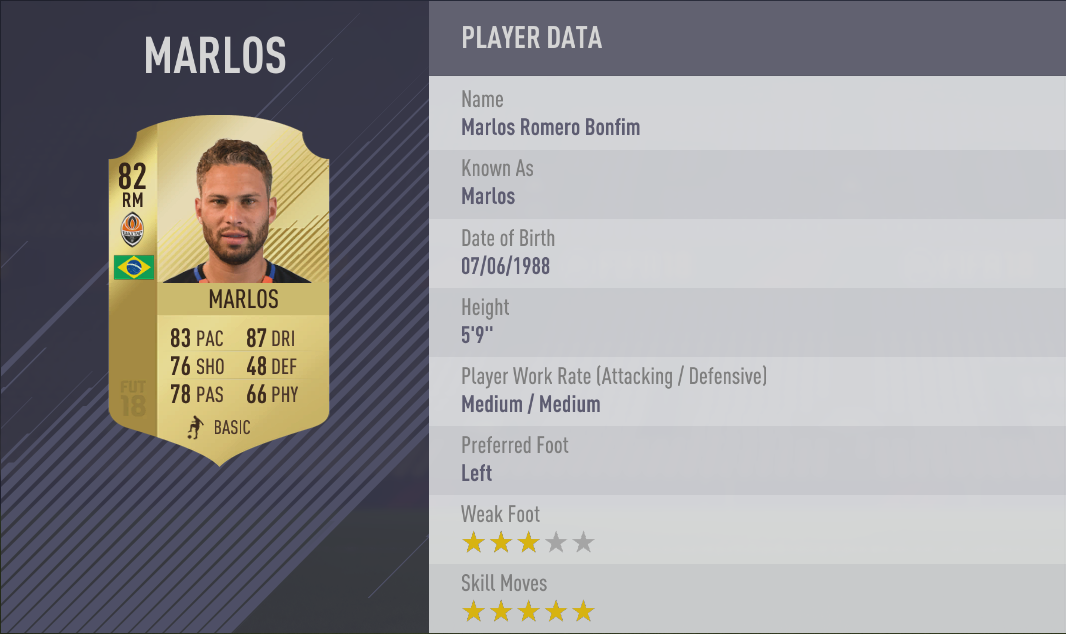 Marlos FIFA 18 Skill Players