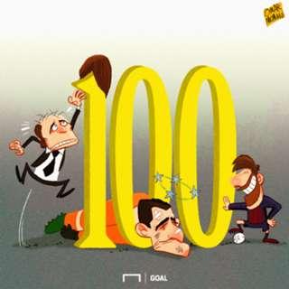 CARTOON: Messi hits 100 UCL goals