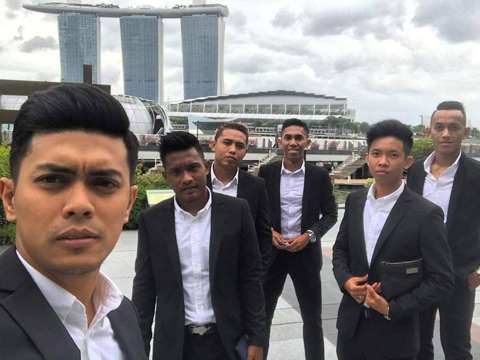 Hougang United players in suits