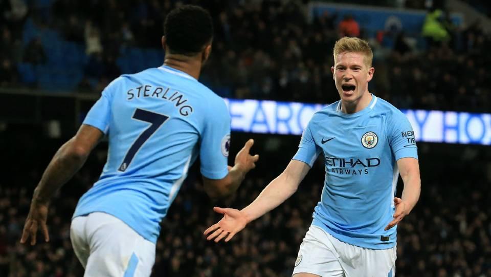 Raheem Sterling Kevin De Bruyne Manchester City 2017-18
