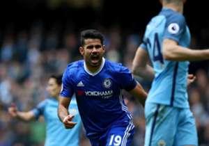 <b> DIEGO COSTA </b> l O atacante marcou um e deu assistência para outro da vitória por 3 a 1 do Chelsea sobre o City. Os Blues são líderes do campeonato.