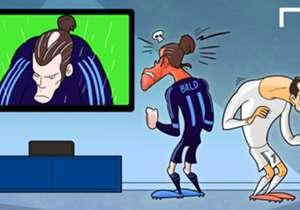 Assente Ronaldo, ci pensa Bale a togliere la castagne dal fuoco per il Real Madrid con l'ennesimo colpo di testa... che gli costa un pezzo di chioma!
