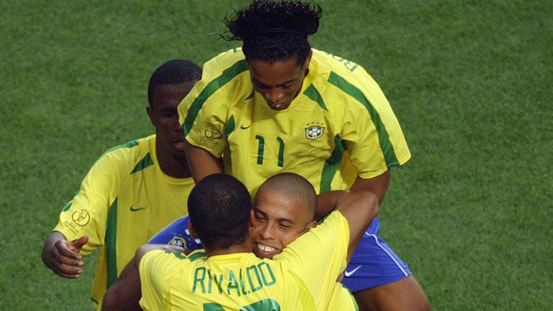 Ronaldo Rivaldo Ronaldinho Brazil 2002 World Cup Goal