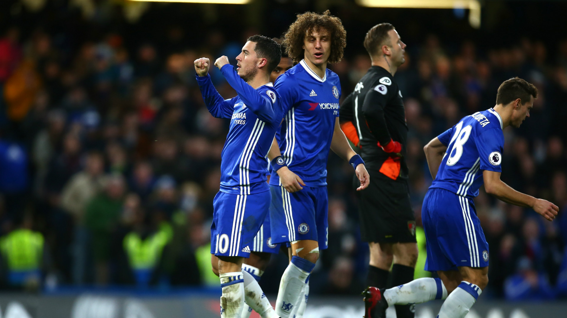 Leaders Chelsea won 3-0 at home to Bournemouth