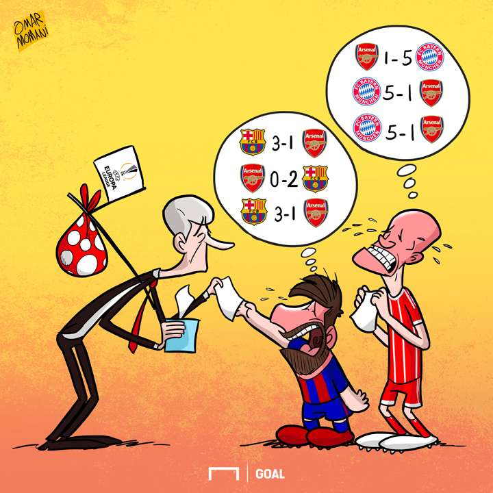 Barcelona Bayern Arsenal Wenger cartoon